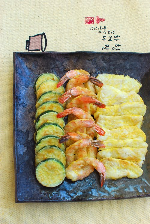Modeumjeon fish shrimp and zucchini pan fried in egg for How to fry fish with egg and flour