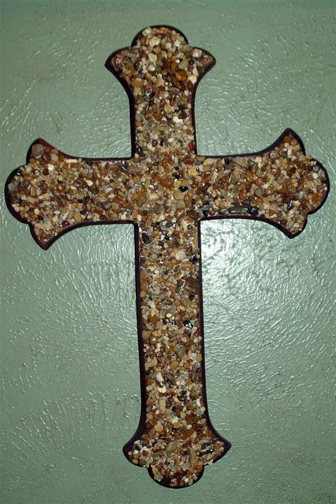 Designs 4 Faith Wood Rock Cross 35
