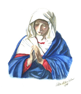 Mother Mary Pray for Us (after Sassoferrato) by Michelle Henderson