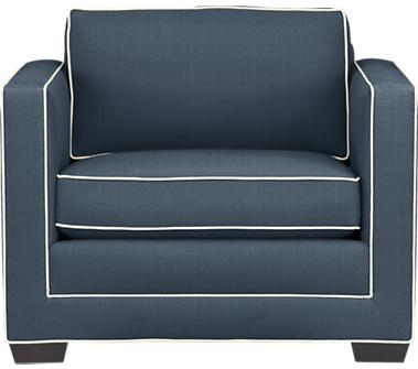 Navy armchair with ivory piping from Crate and Barrel
