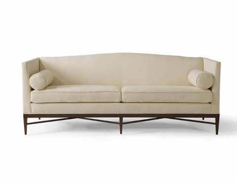 Cream sofa from Bolier &amp; Company with high arms, slightly curved back and exposed wood legs
