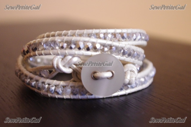 Beaded Leather Wrap Bracelet with Button Closure [EB7815YE