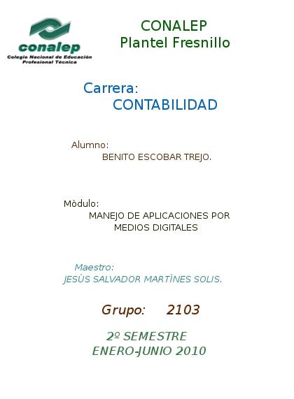 mi primer pag BENITO: PORTADA CONALEP