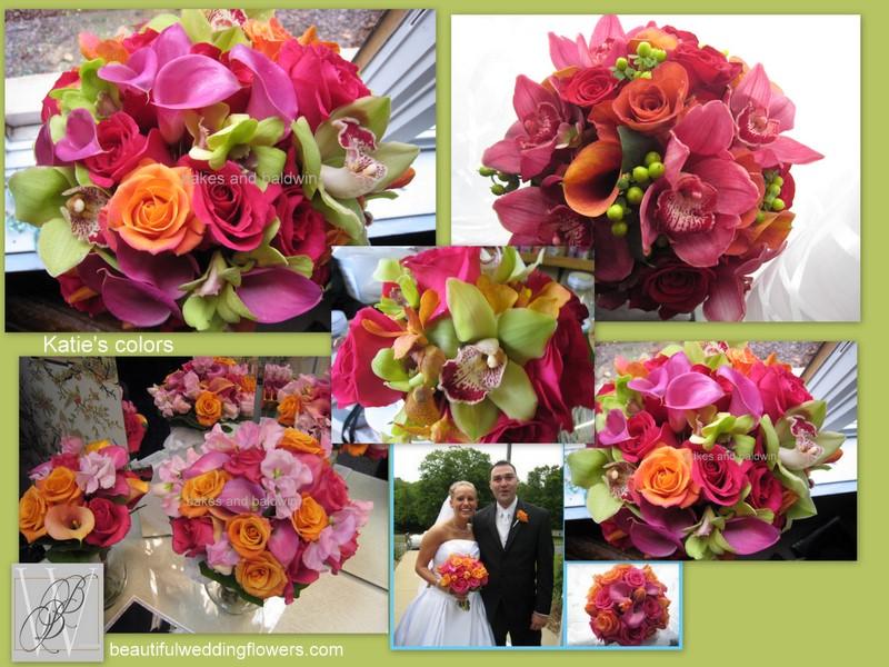 CtWedding FloristsHot pink Orange and Green Wedding Bouquets