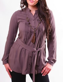 Tunic Shirt in Mink with Long Sleeves