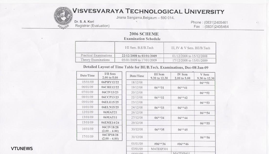 Vtu news time table for b e b tech dec 39 08 and jan 39 09 for Vtu 6th sem time table