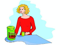 woman brewing coffee