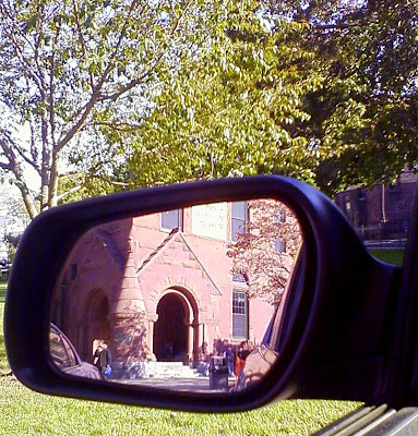 Norwich Free Academy from the sideview mirror