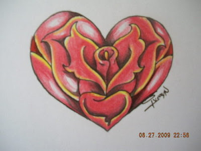 heart and rose tattoos. rose and heart tattoos. rose