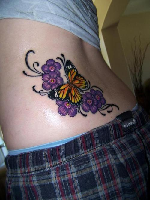 Monarch Butterfly And Purple Flowers Tattoo Desig
