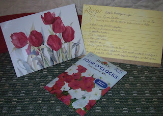 flower seed packet, card and recipe from Joan