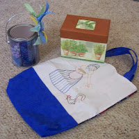 tote bag, recipe box and can full of batik fat quarters of fabric