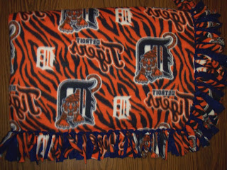 backwards Detroit Tigers fleece blanket