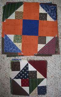 old orange crush blocks next to new formation minus orange and blue fabrics