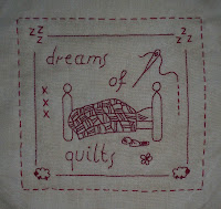 Red work stitchery block of the month from Capricorn Quilts blogspot