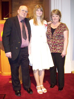 Jim, Abby and me at church