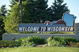 Welcome To Wisconsin sign at the Welcome Center