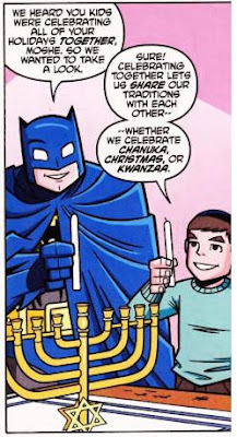 Batman lights the Hanukkah menorah with Moshe