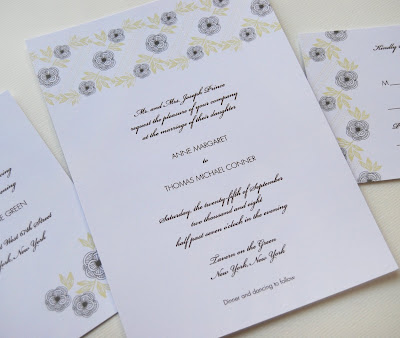 Antique Floral Wedding Invitation Reply Card and Reception Card shown in
