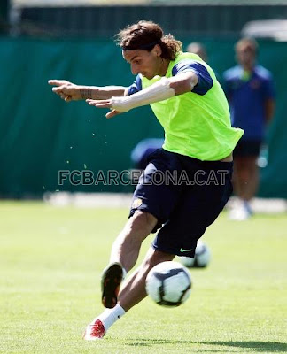 New Barcelona player Zlatan Ibrahimovic took yesterday part in his first