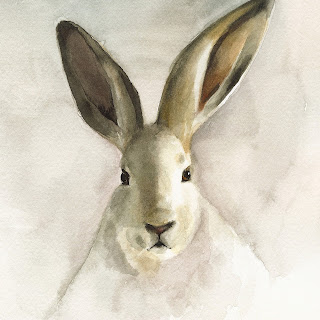 Small watercolor print of rabbit.