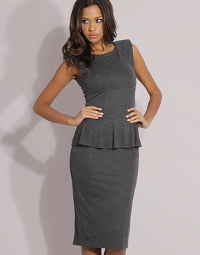 Black Pencil Dress on Burberry Prorsum Techno Fabric Jacket With Ruffle Peplum Waist  At