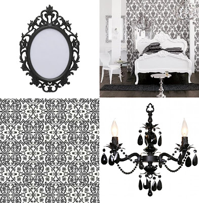 black and white damask background. Grace White and Black floral