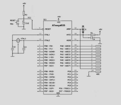 Rangkaian Sistem Minimum Mikrokontroler ATmega8535