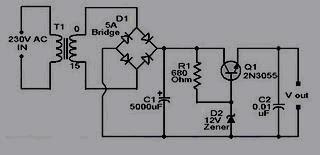 rangkaian adaptor 12 volt 2N3055
