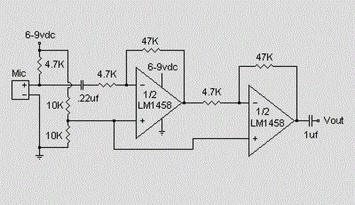 Microphone Condenser Pre Amplifier Circuit Koleksi Skema Rangkaian