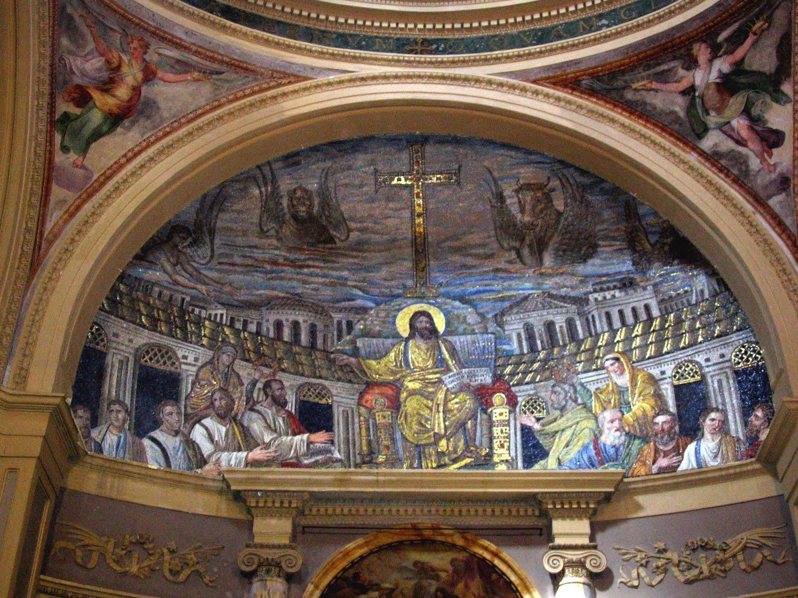 Cristo entronizado con los apóstoles en la Jerusalén Celestial muestra que el ilusionismo romano continuaba vivo y con buena salud en el arte paleocristiano