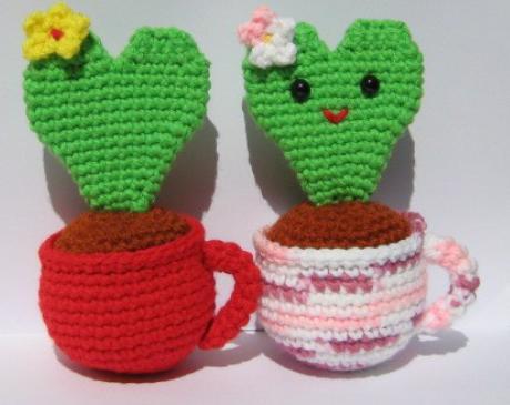 Free Crochet Patterns For Japanese Dolls : How to do Amigurumi Toys: Heart Cactus Amigurumi crochet ...