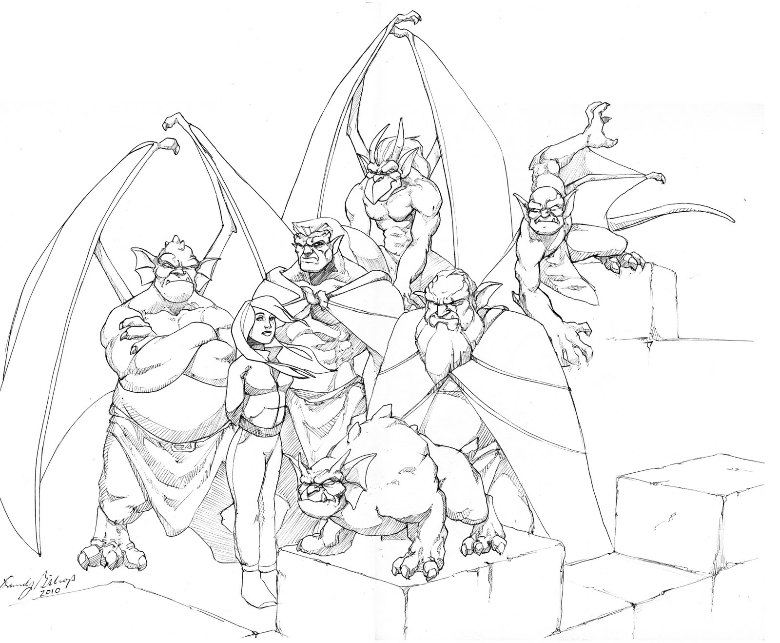 printable coloring pages of gargoyles - photo#8