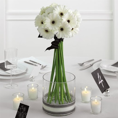 Flowers for a Black and White Formal Wedding wedding Carnations