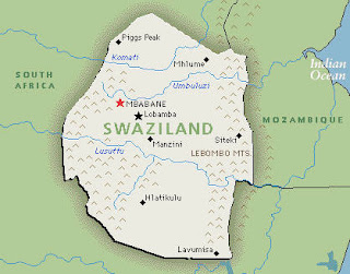 Following Him to Swaziland Swaziland Map