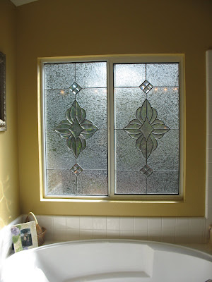 Bathroom on Stained Glass Craftsmen  Beveled Sliding Glass Door Bathroom Windows
