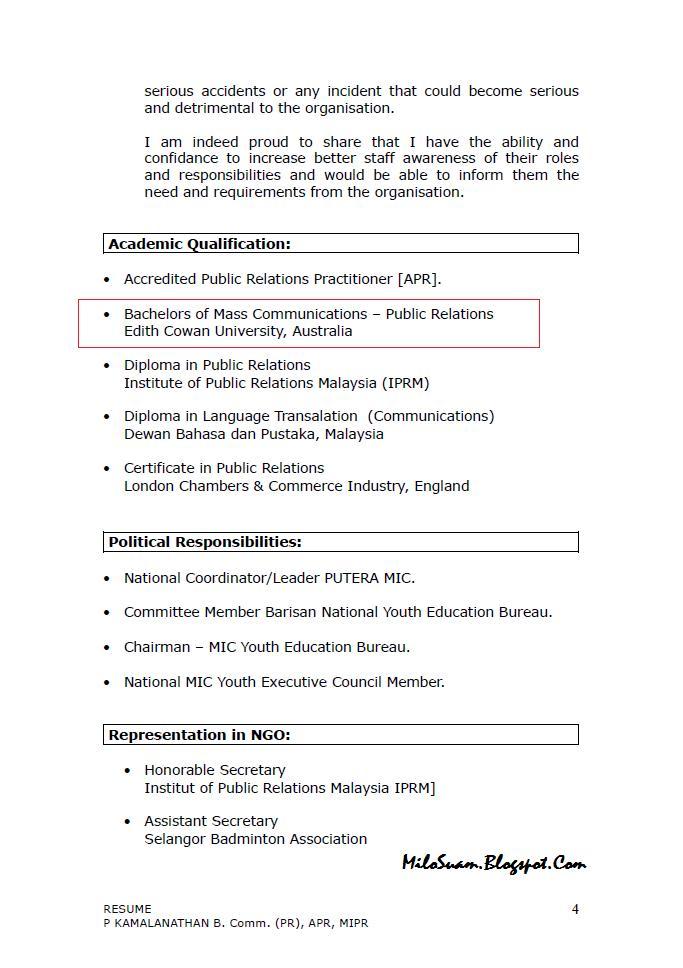 malaysia resume