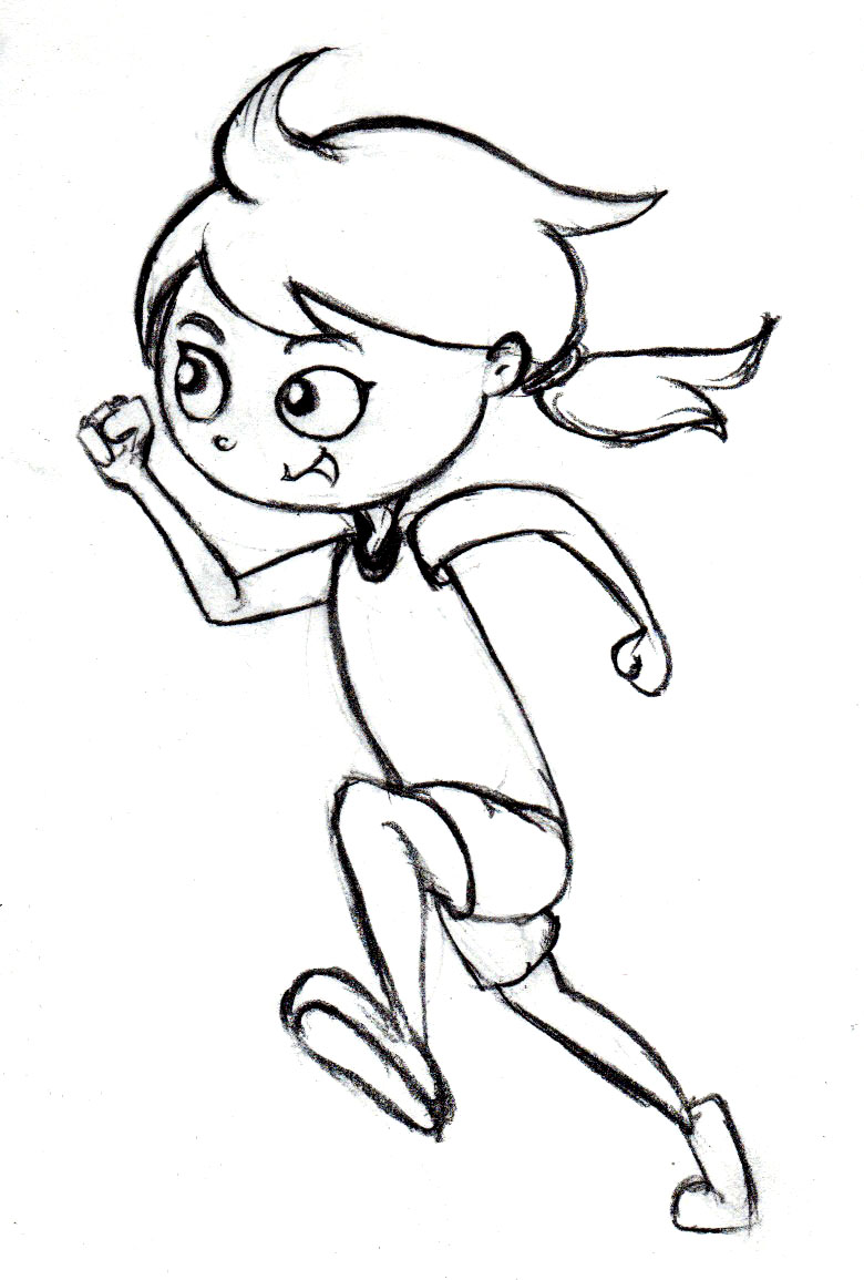 Anime Girl Running Coloring Coloring Pages Vector Of A Cartoon ...