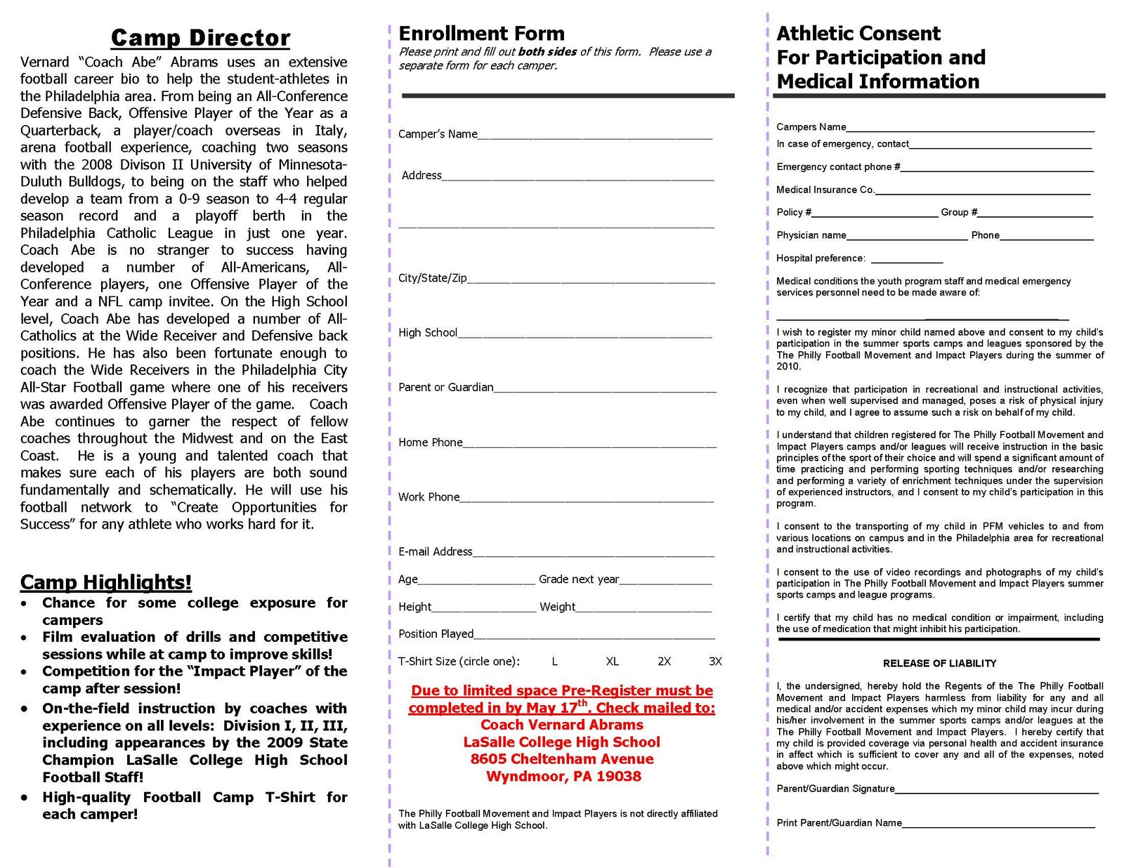 coach abe football rd skills showcase registration form to 23rd skills showcase registration form to print form view in landscape pre register limited space available