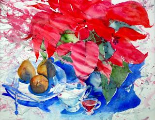 acuarela bodegón naturaleza muerta flor de pascua peras watercolor still-life pear
