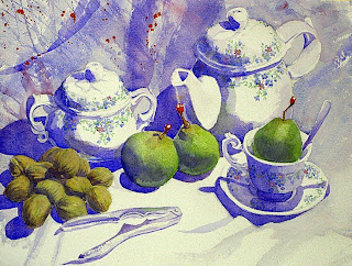 bodegon acuarela nueces peras still-life watercolor pear