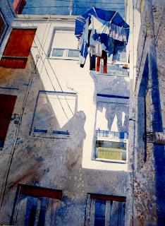 acuarela paisaje urbano interiores patios watercolor urban landscape