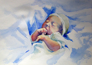 acuarela retrato watercolor portrait bebe baby