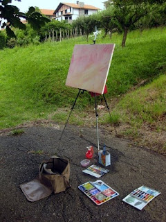 pintando con acuarela en sondika painting watercolor