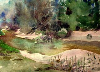 acuarela paisaje orilla del rio vallina poo llanes watercolor landscape river