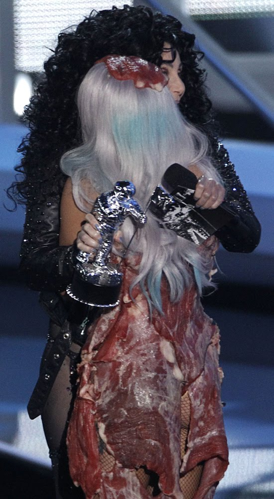 lady gaga meat dress real meat. lady gaga meat dress images.