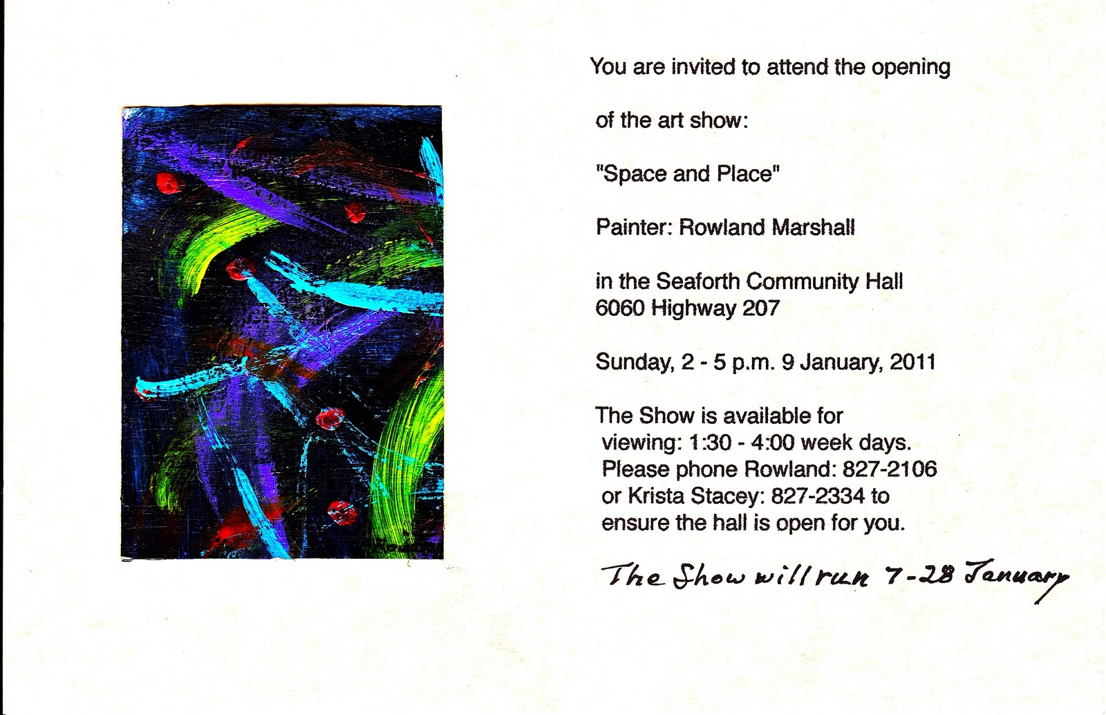 rowland will have his first solo art show in seaforth