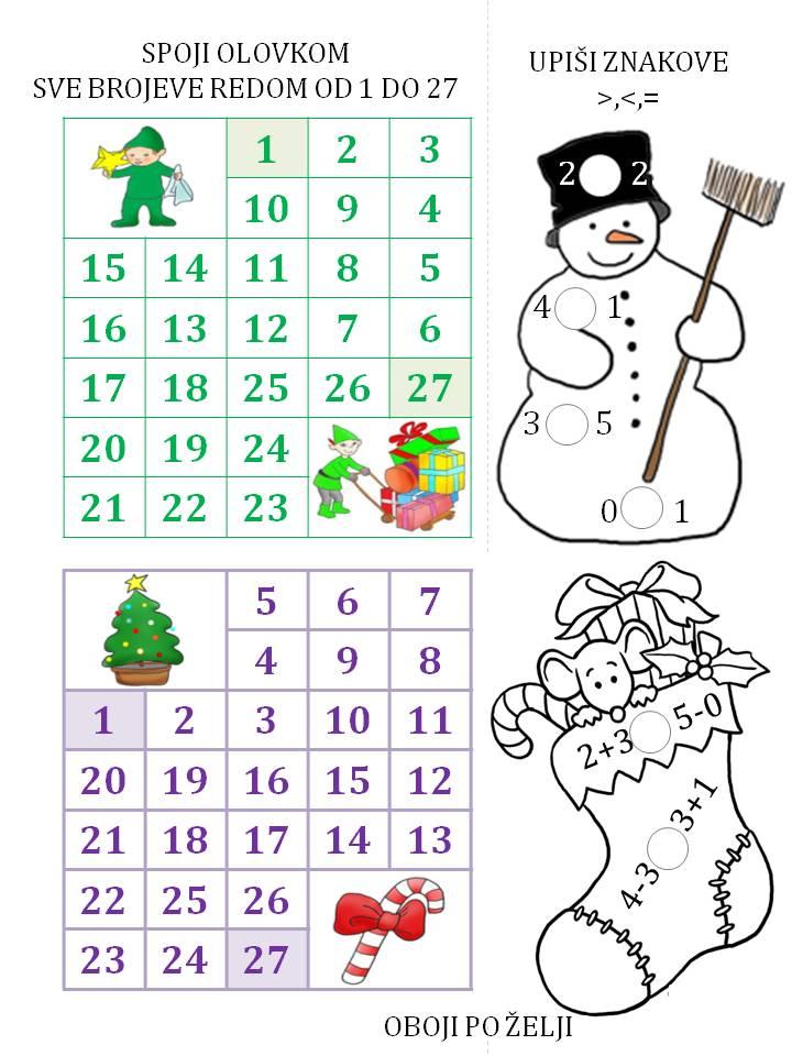Nekoliko matematičkih zadataka za prvi razred - učimo brojeve