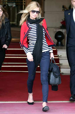kate moss in nautical navy stripes in Paris