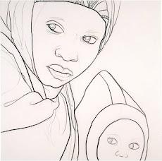 AMINA Y WASILA - 2003. Carboncillo sobre tela. 120x120 cm. AMH